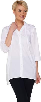 Joan Rivers Classics Collection Joan Rivers Boyfriend Shirt with Asymmetric Hem and 3/4 Sleeve
