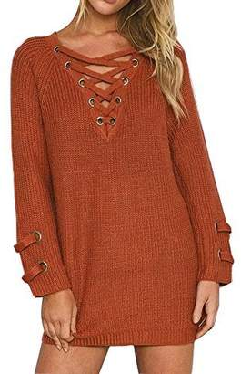 BOBIBI Women's Lace Up Front V Neck Long Sleeve Knit Pullover Sweater Mini Dress Top