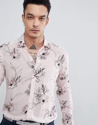 Reiss Slim Long Sleeve Shirt In Soft Pink Floral Print