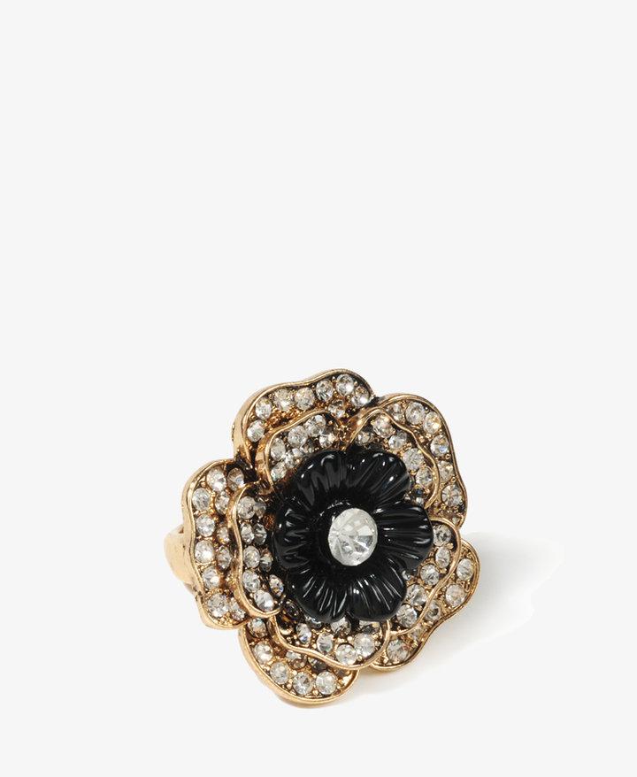 FOREVER 21 Rhinestoned Flower Ring