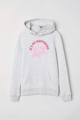 H&M Printed Hooded Sweatshirt - Gray