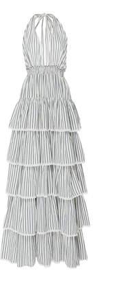 LoveShackFancy Clarissa Striped Tiered Halterneck Cotton Dress