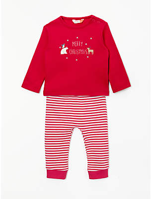 John Lewis & Partners Christmas Long Sleeve T-Shirt and Legging Set, Red