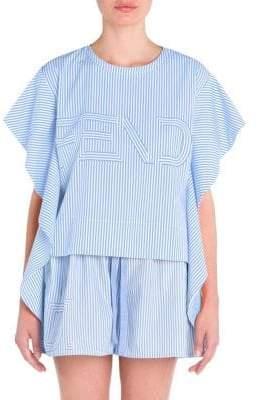 Fendi Stripe Logo Flutter-Sleeve Top