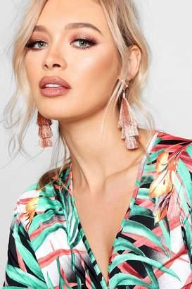 boohoo Lucia Metallic Tiered Tassel Earrings