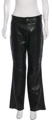 agnès b. Leather Wide-Leg Pants