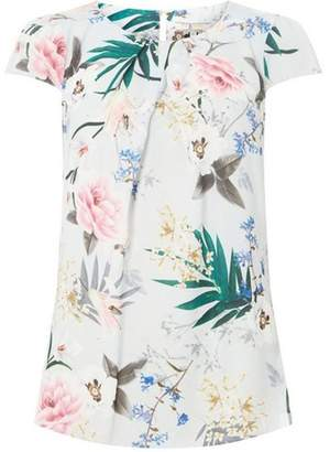 Dorothy Perkins Womens **Billie & Blossom Tall Grey Floral Crepe Shell Top
