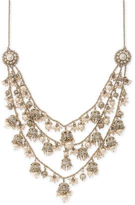 "Marchesa Gold-Tone Bead & Imitation Pearl 7-1/2"" Statement Necklace"
