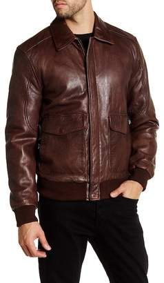 BOSTON HARBOUR VINTAGE Leather Spread Collar Jacket