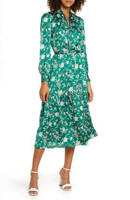 Chelsea28 Chelsea 28 Floral Long Sleeve Satin Shirtdress
