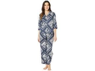 Lauren Ralph Lauren Petite 3/4 Sleeve Pointed Notch Collar Pajama Set