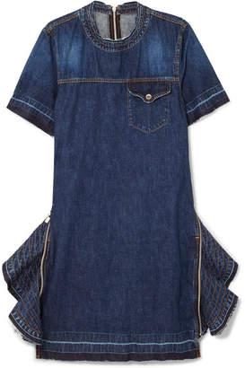 Sacai Zip-embellished Denim Dress - Dark denim