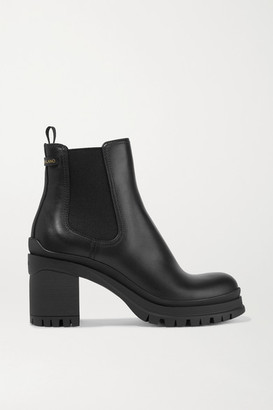 Prada 55 Leather Chelsea Boots - Black