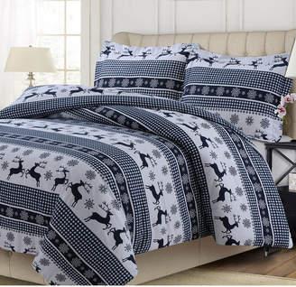 Tribeca Living Gingham Deer Heavyweight Cotton Flannel Printed Oversized Queen Duvet Set Bedding