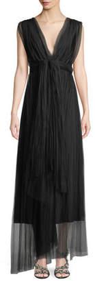 Chiara Boni Vanda V-Neck Sleeveless Wrap-Belt Illusion Tulle Evening Gown