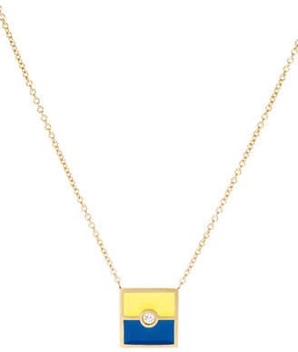 K Kane Code Flag Square Diamond Pendant Necklace - E eBC0JpYbVm