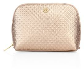 Tory Burch Tory Burch Marion Embossed Metallic Leather Cosmetic Case