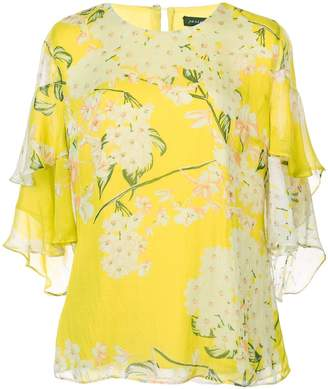 Josie Natori Hokkaido Blossom tiered blouse