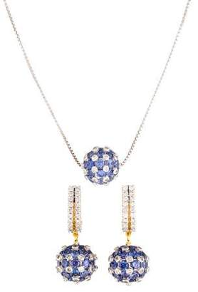 Amrapali 18K Diamond & Tanzanite Sphere Necklace & Earring Set