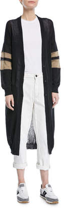 Brunello Cucinelli Long Open-Front Belted Duster Cardigan with Contrast Arm Band