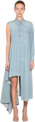 MM6 MAISON MARGIELA ASYMMETRIC COTTON DENIM DRESS