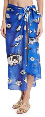 Anna Coroneo Cotton Voile Eye Scarf, Blue