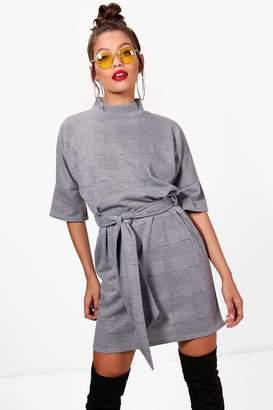 boohoo High Neck Kimono Sleeve Formal Mini Dress