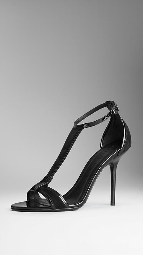 Burberry Suede T-Bar Sandals