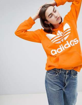 adidas Oversized Trefoil Logo Hoodie In Orange