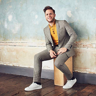River Island Mens Olly Murs ecru check skinny cropped trousers
