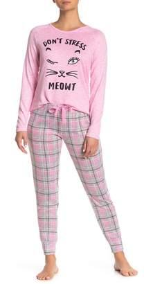 Couture PJ Don't Stress Meowt Plaid Print Long Sleeve Top Pants Pajama 2-Piece Set
