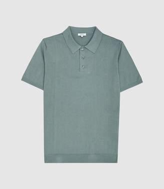 Reiss Varsity - Short Sleeved Polo in Steel Green
