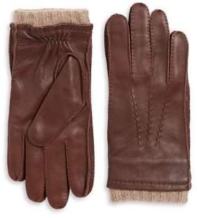 Black & Brown Black Brown Leather Cashmere Gloves