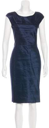 Oscar de la Renta Silk-Paneled Knee-Length Dress w/ Tags