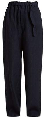Lemaire Flecked Silk Blend Trousers - Womens - Navy
