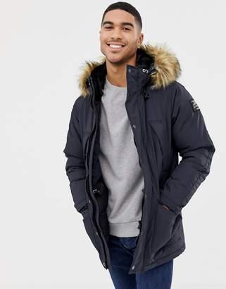 Schott Artica X Hooded Nylon Parka Jacket Detachable Faux Fur Trim Slim Fit in Navy