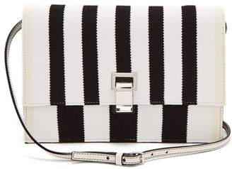 Proenza Schouler Striped Knit And Leather Cross Body Bag - Womens - Black White