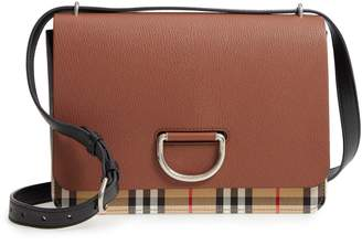 Burberry Medium D-Ring Vintage Check & Leather Crossbody Bag