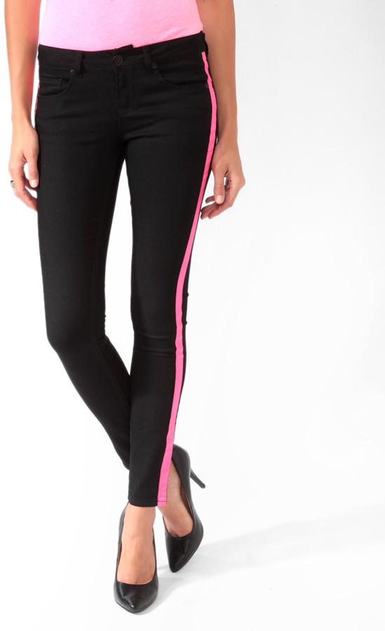 FOREVER 21 Neon Tuxedo Stripe Jeans
