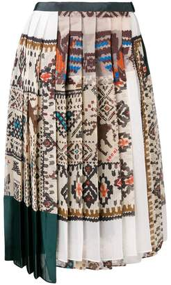 Sacai printed pleated skirt