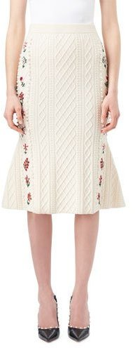 Altuzarra Altuzarra Letta Cable-Knit Midi Flounce Skirt with Floral Embroidery, White