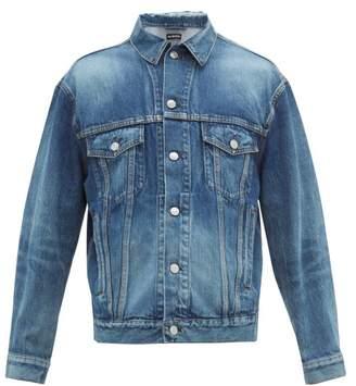 Balenciaga Logo Print Denim Jacket - Mens - Blue