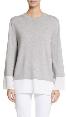 St. John Layered Hem Wool Sweater
