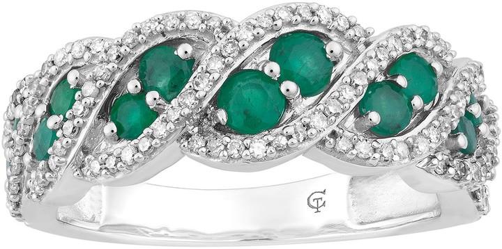 10k White Gold Emerald & 1/3 Carat T.W. Diamond Ring