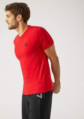 Emporio Armani Ea7 Stretch Cotton Jersey T-Shirt With Maxi Logo