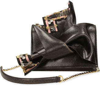 No.21 No. 21 Cracked Leather Small Bow Bag