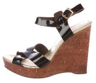 KORS Patent Leather Wedge Sandals