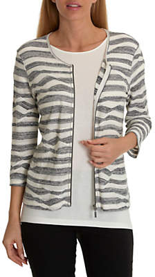 Betty Barclay Fine Knit Striped Cardigan, Dark Blue/Cream
