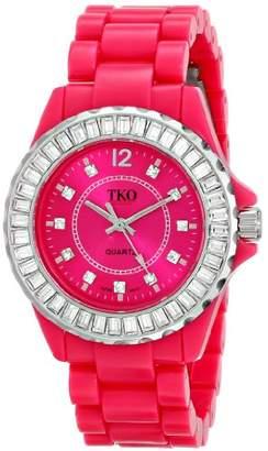 TKO ORLOGI Women's TK608-FS Ceramix-Ice Fuchsia Acrylic Crystallized Watch