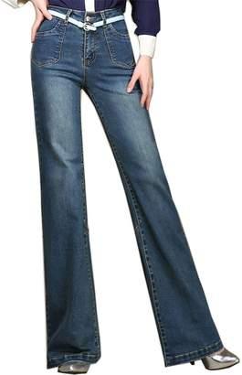 Cresay Womens High Waist Bootcut Baggy Leg Jeans Wide Leg Pants-lightblue-34